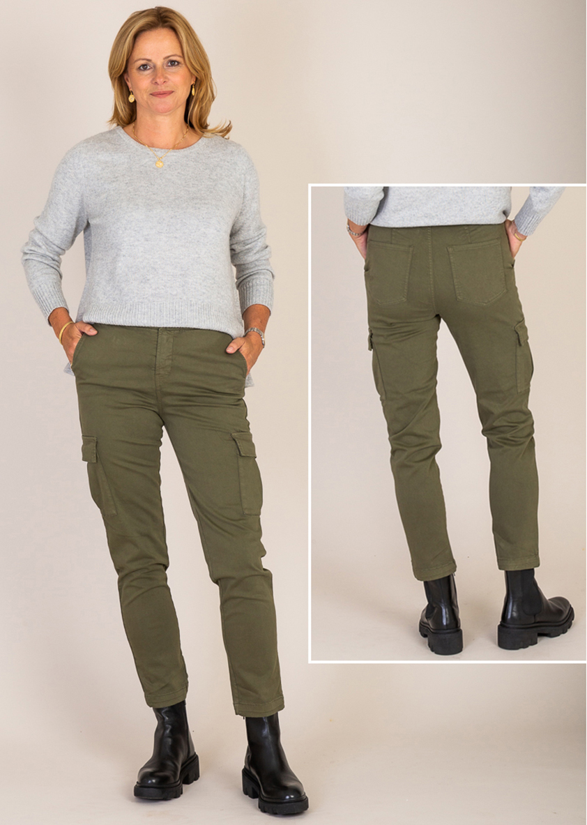 Khaki Maguy Cargo Pants by Five Jeans