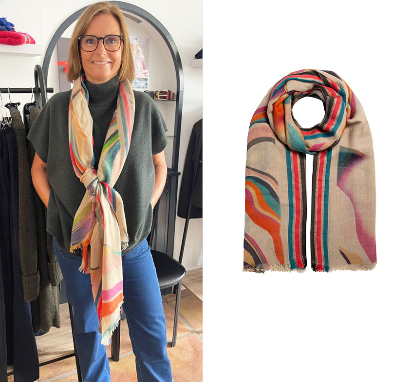 Multi Coloured Swirl Scarf by Cleverly Wrapped