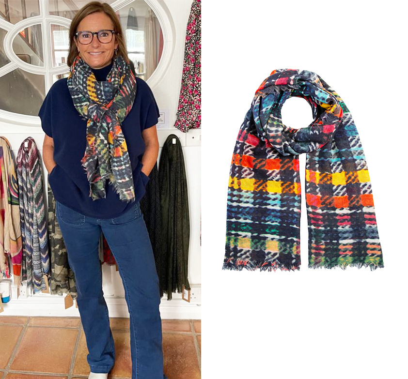 Rainbow Check Wool Scarf by Cleverly Wrapped
