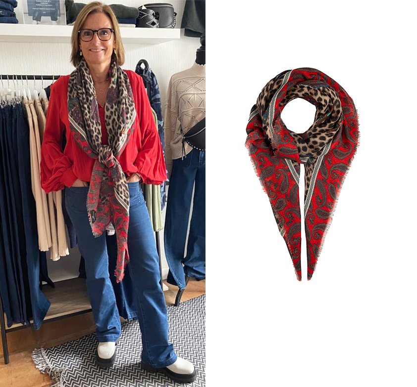 Red Paisley Wool Scarf by Cleverly Wrapped