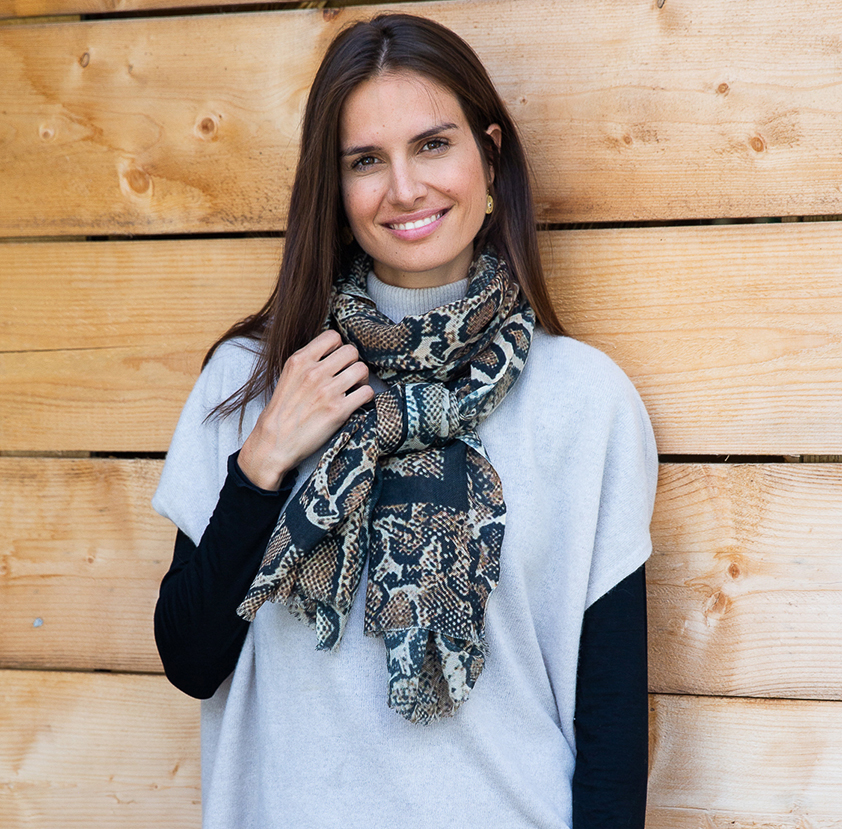 Snake Natural Wool Scarf by Cleverly Wrapped