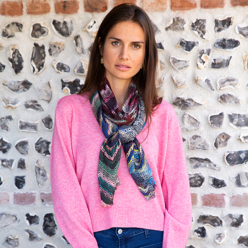 Zig Zag Patterned Scarf by Cleverly Wrapped