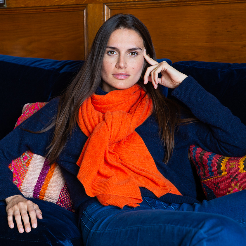 Orange Classic Cashmere Scarf by Cleverly Wrapped